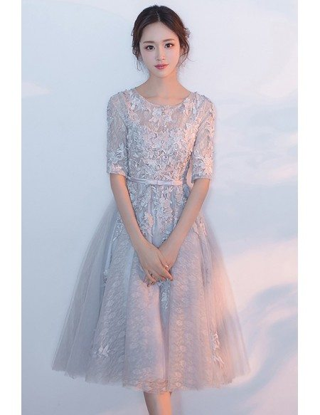 Elegant Grey Lace Knee Length Lace Homecoming Dress with Appliques