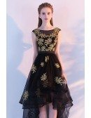 Black with Gold Appliques High Low Tulle Homecoming Prom Dress