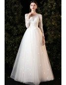 Gorgeous Sheer Round Neck Tulle Wedding Dress with Long Sleeves
