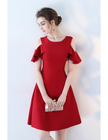 Little Red Round Neck Homecoming Semi Party Dress with Cold Shoulder