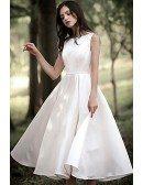 Simple Satin Tea Length Retro Wedding Party Dress Sleeveless