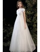 Lace Cap Sleeved Empire Pregnant Wedding Dress with Bling Tulle