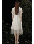 Vneck Aline Tea Length Tulle Party Dress with Beadings Bubble Sleeves