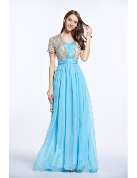 Feminine A-Line Embroided Chiffon Long Prom Dress With Sleeves