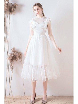 Retro Polka Dot Tea Length Wedding Party Dress