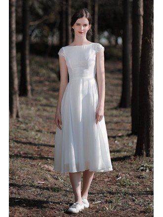 Retro Chic Tea Length Chiffon Wedding Dress with Cap Sleeves Open Back