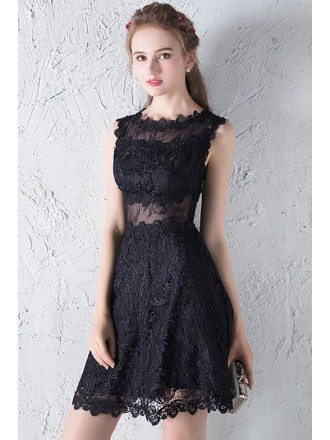 Black Lace Short Homecoming Party Dress with Sheer Waist