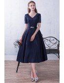 Modest Navy Blue Vneck Tea Length Semi Party Dress with Short Sleeves