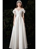 Gorgeous Off Shoulder Beaded Lace Satin Wedding Dress with Sash