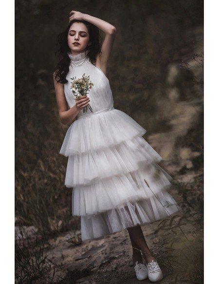 Casual Tiered Tea Length Tulle Halter Wedding Dress Backless