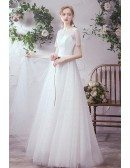 Illusion Short Sleeved Aline Wedding Party Dress with Beadings