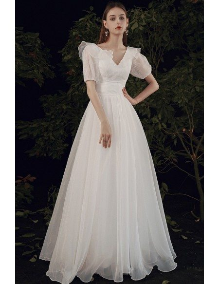 Elegant Vneck Organza Wedding Dress with Lace Short Sleeves