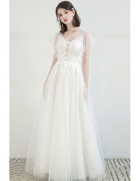 Elegant Vneck Lace Aline Tulle Wedding Dress with Laceup