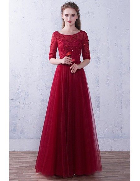 Aline Tulle Burgundy Round Neck Wedding Party Dress Beaded with Half Sleeves