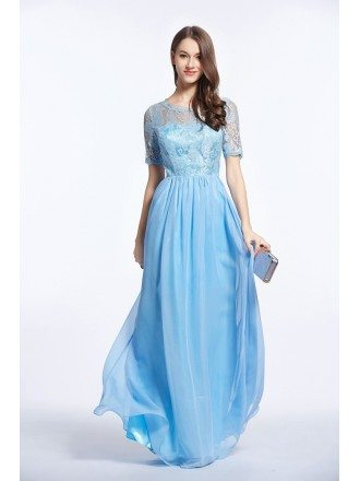 Feminine A-Line Lace Chiffon Long Prom Dress With Sleeves