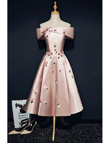 Pink Off Shoulder Satin Tea Length Homecoming Dress with Flowers
