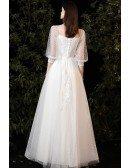 Romantic Polka Dot Long Wedding Dress with Square Neckline