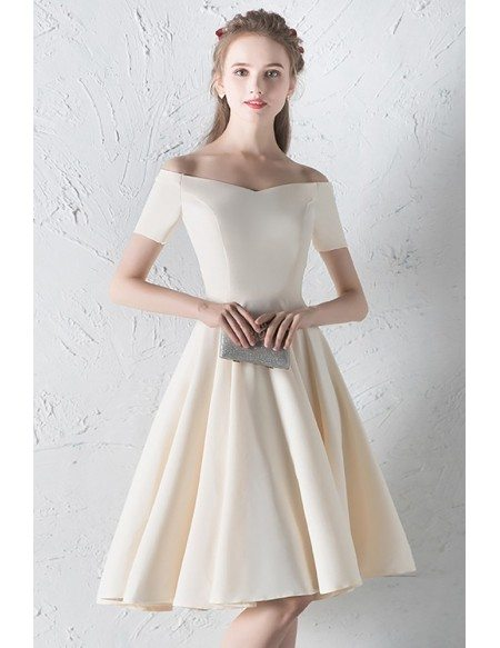 Champagne Off Shoulder Aline Simple Homecoming Dress with Sleeves
