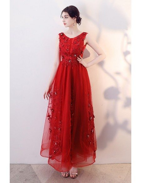 Red Beaded Appliques Empire Long Party Dress Sleeveless