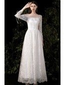 Slim Aline Lace Retro Wedding Dress Square Neck with Lace Long Sleeves