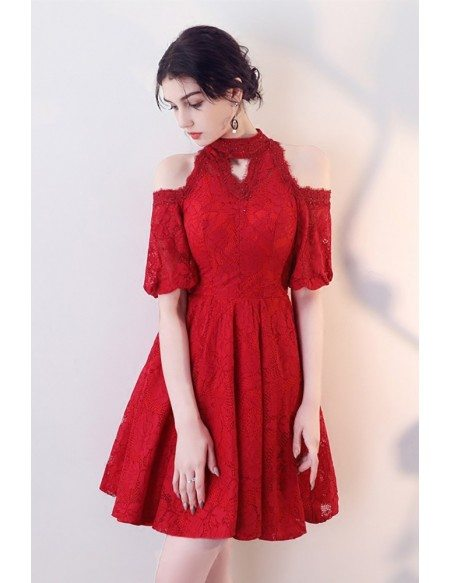 Little Red Lace Cold Shoulder Homecoming Dress with Beaded Halter