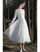 Elegant Lace Long Sleeved Tea Length Chiffon Wedding Dress For Vintage Look