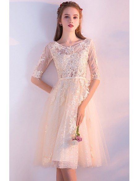 Champagne Lace Round Neck Homecoming Dress Knee Length with Half Sleeves