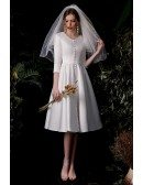 Retro French Vneck 3/4 Sleeved Wedding Dress Knee Length with Buttons