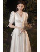 Retro Vneck Satin Modest Wedding Dress with Big Bow In Back