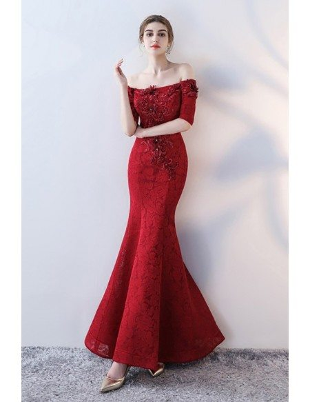 Burgundy Fitted Mermaid Lace Prom Dress with Off Shoulder Sleeves