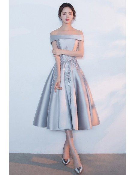Silver Satin Off Shouler Tea Length Homecoming Dress with Appliques