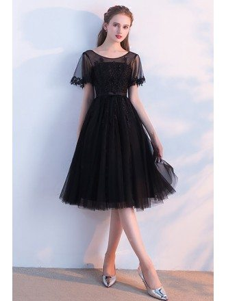 Modest Illusion Round Neck Black Homecoming Dress Knee Length with Sleeves