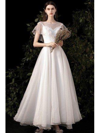 Elegant Sheer Neckline Organza Wedding Dress with Appliques Ruffles