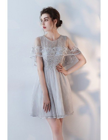 Modest Grey Lace Short Homecoming Dress with Beaded Lace