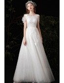 Cute Butterflies Beaded Wedding Dress Vneck with Cold Shoulder