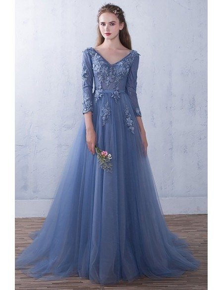 Elegant Vneck Flowy Tulle Long Prom Dress 3/4 Sleeved with Appliques