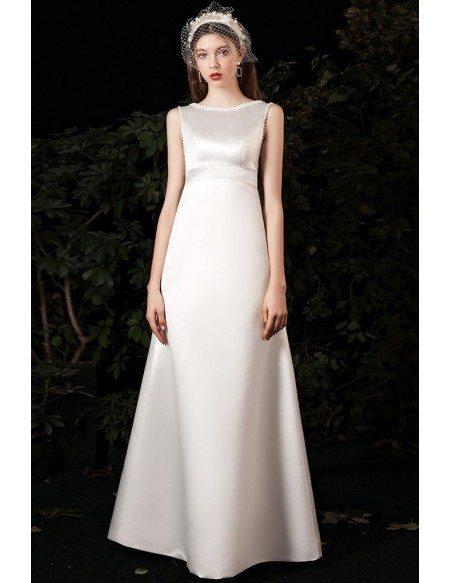 Simple Satin Empire Lace Neckline Wedding Dress Sleeveless