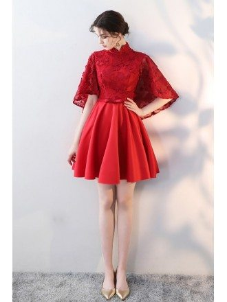 Red Short Formal Party Dress Flowers with Dolman Sleeves Collar