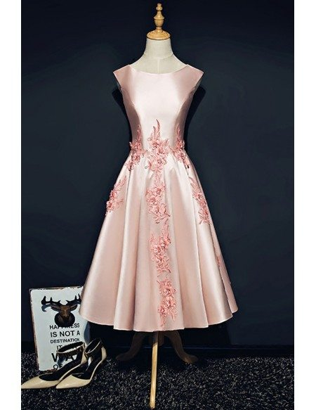 Pink Satin Tea Length Formal Party Dress Sleeveless with Appliques