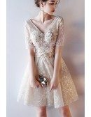 Gorgeous Vneck Champagne Lace Short Homecoming Dress with Short Sleeves
