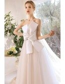 Simple Elegant Big Bow Knot Wedding Dress Strapless with Laceup