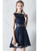 Navy Blue Lace Aline Homecoming Dress with Sheer Waist