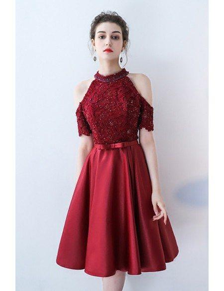 Beaded Halter Cold Shoulder Burgundy Homecoming Dress Knee Length with Sash
