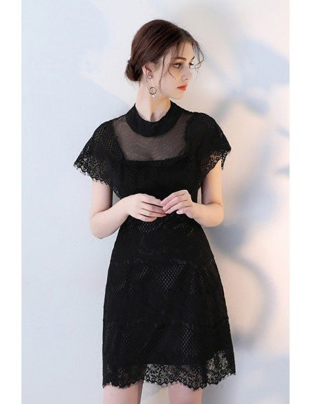 Little Black Lace Tulle Homecoming Party Dress with Illusion Neckline