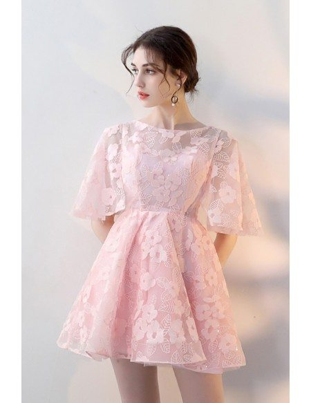 Cute Pink Flowers Lace Flare Mini Homecoming Dress with Sleeves