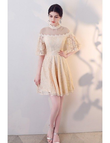 Modest Champagne Lace Short Homecoming Dress Sleeved with Illusion Neckline