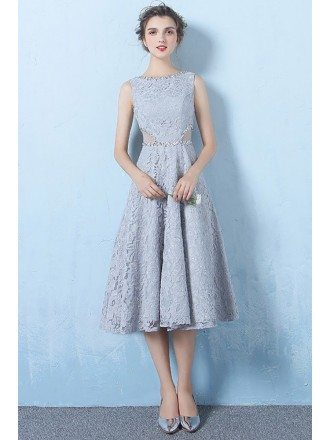 Blue Tea Length Lace Homecoming Party Dress with Cutout Beaded Neckline