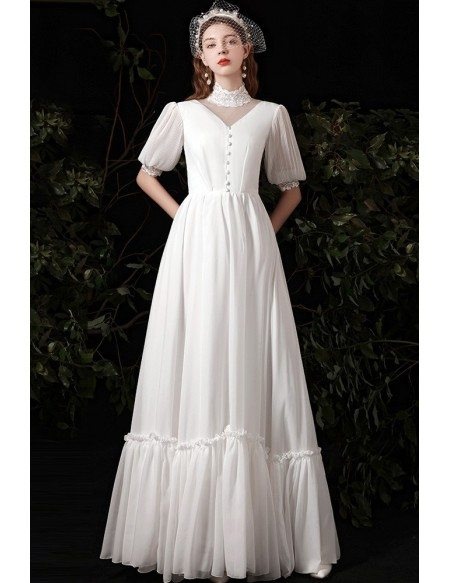 Vintage Lace High Collar Long Wedding Dress with Bubble Sleeves