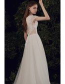 Flowy Long Tulle Vneck Wedding Dress with Illusion Open Back