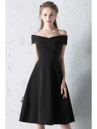 Simple Off Shoulder Little Black Dress Knee Length